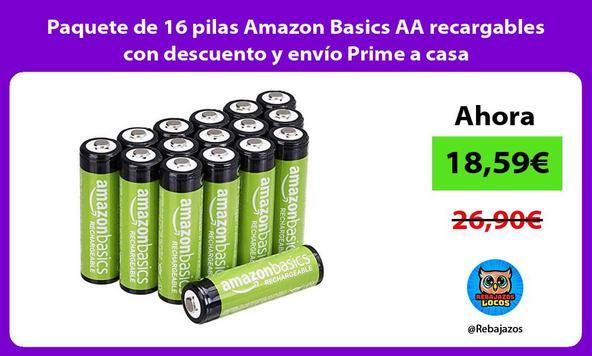 Paquete de 16 pilas Amazon Basics AA recargables con descuento y envío Prime a casa/