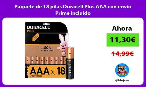 Paquete de 18 pilas Duracell Plus AAA con envío Prime incluido