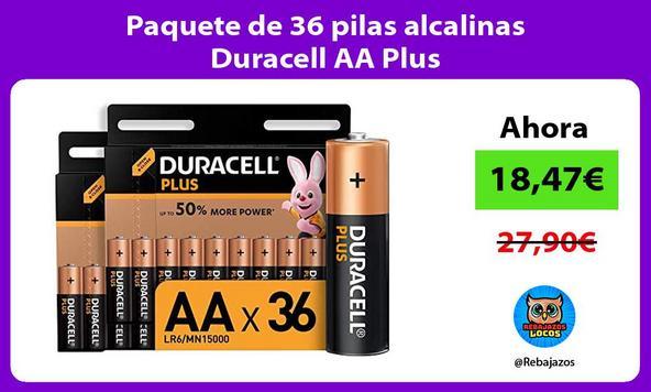 Paquete de 36 pilas alcalinas Duracell AA Plus