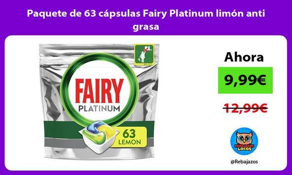 Paquete de 63 cápsulas Fairy Platinum limón anti grasa