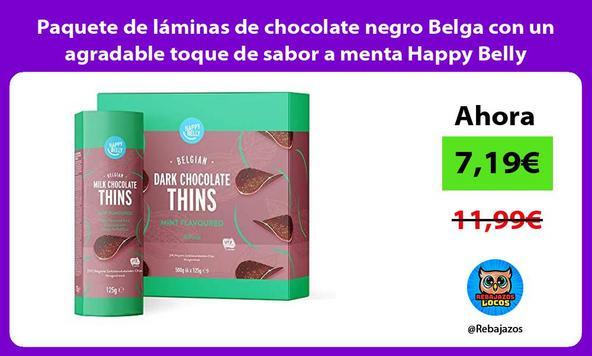 Paquete de láminas de chocolate negro Belga con un agradable toque de sabor a menta Happy Belly