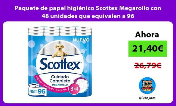 Paquete de papel higiénico Scottex Megarollo con 48 unidades que equivalen a 96