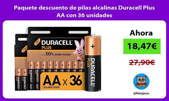 Paquete descuento de pilas alcalinas Duracell Plus AA con 36 unidades
