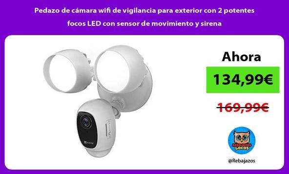 Pedazo de cámara wifi de vigilancia para exterior con 2 potentes focos LED con sensor de movimiento y sirena/