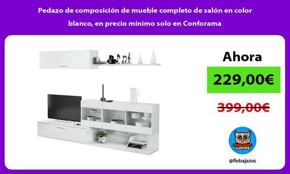 Pedazo de composición de mueble completo de salón en color blanco, en precio mínimo solo en Conforama