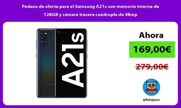 Pedazo de oferta para el Samsung A21s con memoria interna de 128GB y cámara trasera cuádruple de 48mp