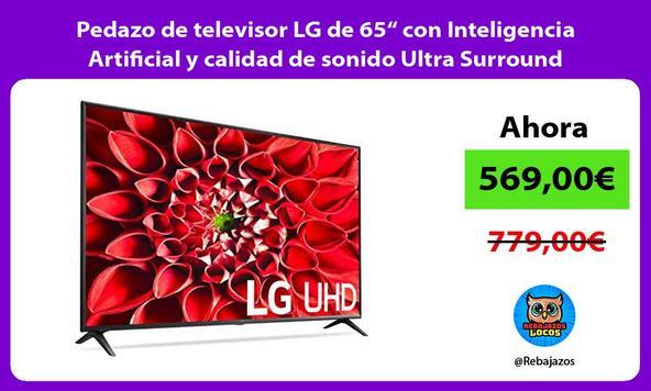 """Pedazo de televisor LG de 65"""" con Inteligencia Artificial y calidad de sonido Ultra Surround"""