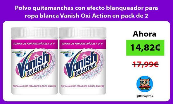Polvo quitamanchas con efecto blanqueador para ropa blanca Vanish Oxi Action en pack de 2