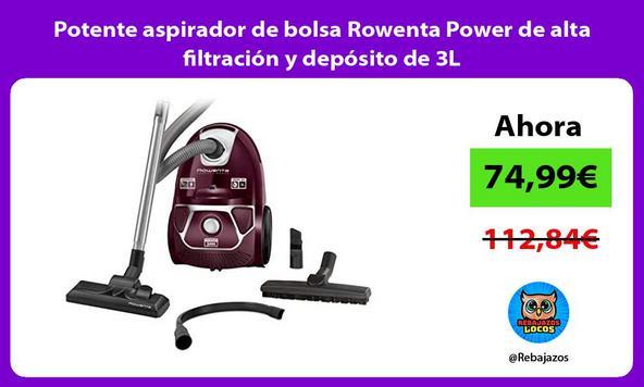 Potente aspirador de bolsa Rowenta Power de alta filtración y depósito de 3L