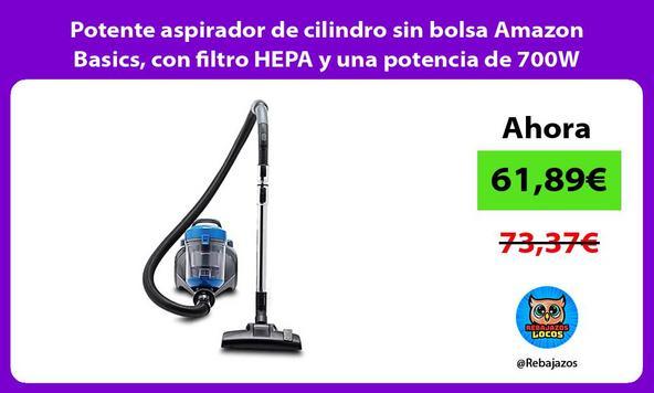 Potente aspirador de cilindro sin bolsa Amazon Basics, con filtro HEPA y una potencia de 700W