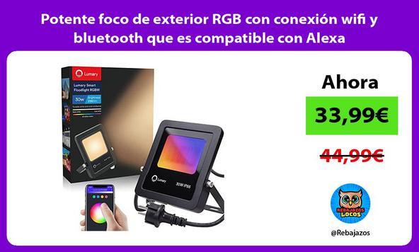Potente foco de exterior RGB con conexión wifi y bluetooth que es compatible con Alexa