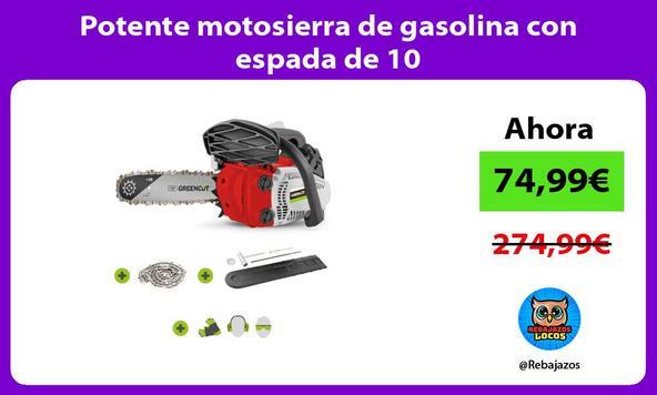 Potente motosierra de gasolina con espada de 10