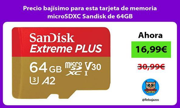 Precio bajísimo para esta tarjeta de memoria microSDXC Sandisk de 64GB