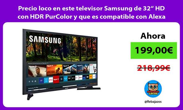"""Precio loco en este televisor Samsung de 32"""" HD con HDR PurColor y que es compatible con Alexa"""