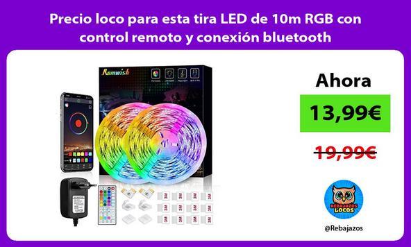 Precio loco para esta tira LED de 10m RGB con control remoto y conexión bluetooth