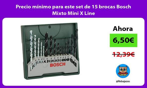 Precio mínimo para este set de 15 brocas Bosch Mixto Mini X Line