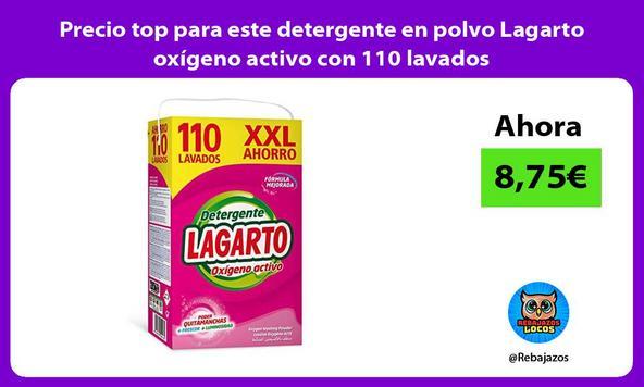 Precio top para este detergente en polvo Lagarto oxígeno activo con 110 lavados