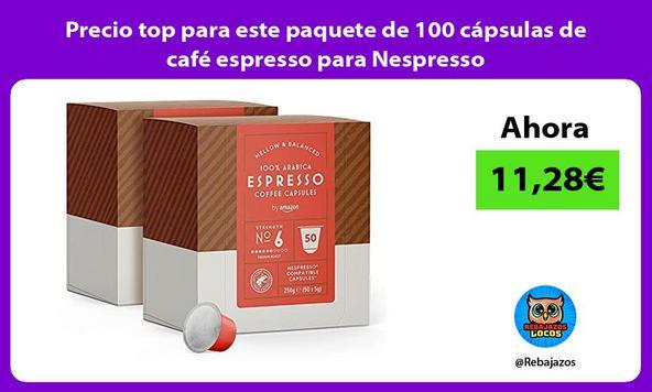 Precio top para este paquete de 100 cápsulas de café espresso para Nespresso