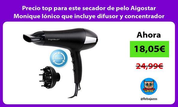 Precio top para este secador de pelo Aigostar Monique Iónico que incluye difusor y concentrador