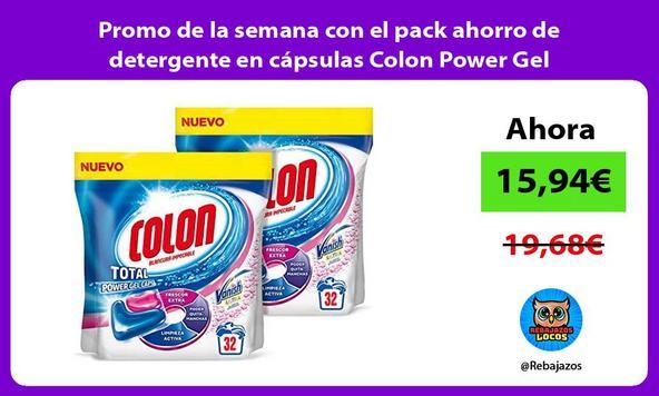 Promo de la semana con el pack ahorro de detergente en cápsulas Colon Power Gel quitamanchas