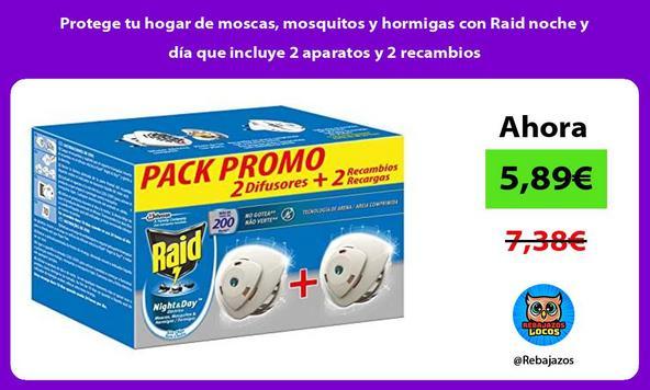 Protege tu hogar de moscas, mosquitos y hormigas con Raid noche y día que incluye 2 aparatos y 2 recambios