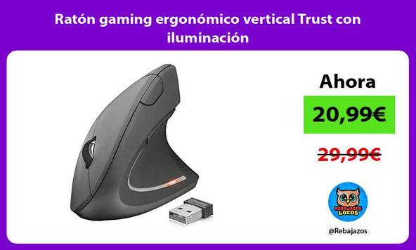 Ratón gaming ergonómico vertical Trust con iluminación