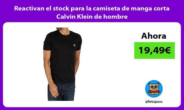 Reactivan el stock para la camiseta de manga corta Calvin Klein de hombre/