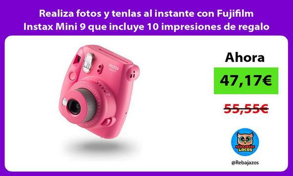 Realiza fotos y tenlas al instante con Fujifilm Instax Mini 9 que incluye 10 impresiones de regalo