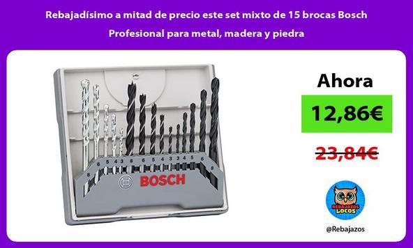 Rebajadísimo a mitad de precio este set mixto de 15 brocas Bosch Profesional para metal, madera y piedra/