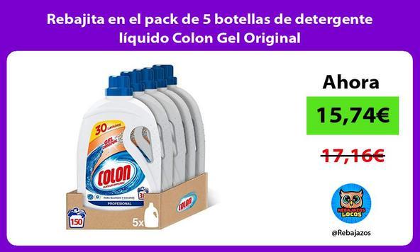 Rebajita en el pack de 5 botellas de detergente líquido Colon Gel Original