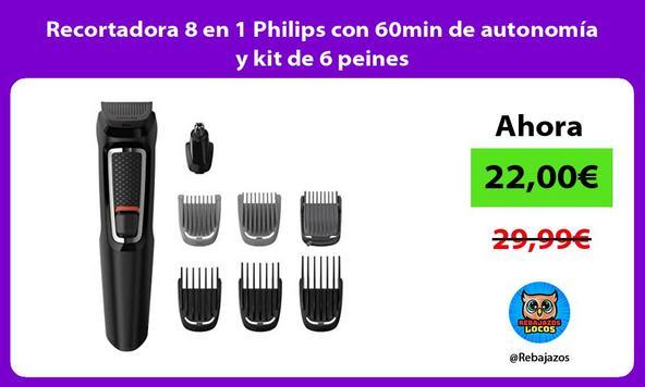 Recortadora 8 en 1 Philips con 60min de autonomía y kit de 6 peines