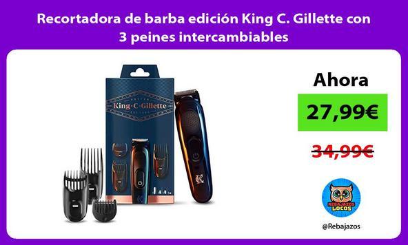 Recortadora de barba edición King C. Gillette con 3 peines intercambiables