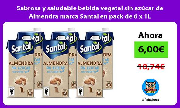 Sabrosa y saludable bebida vegetal sin azúcar de Almendra marca Santal en pack de 6 x 1L