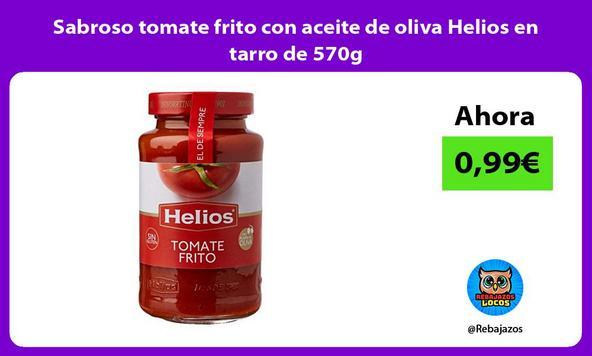 Sabroso tomate frito con aceite de oliva Helios en tarro de 570g