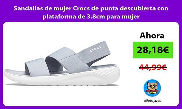 Sandalias de mujer Crocs de punta descubierta con plataforma de 3.8cm para mujer