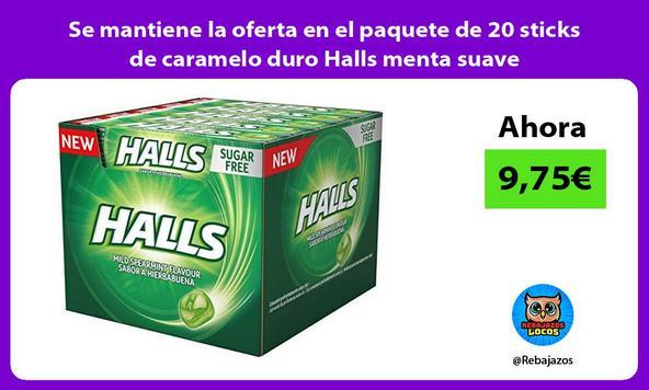 Se mantiene la oferta en el paquete de 20 sticks de caramelo duro Halls menta suave