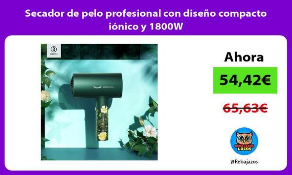 Secador de pelo profesional con diseño compacto iónico y 1800W