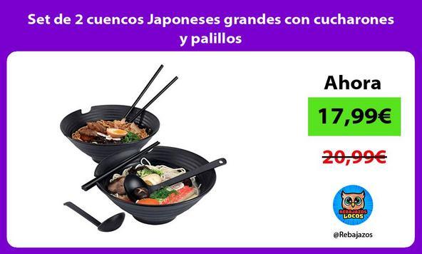 Set de 2 cuencos Japoneses grandes con cucharones y palillos