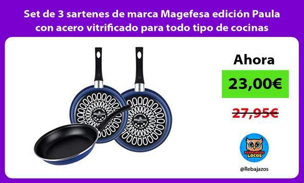 Set de 3 sartenes de marca Magefesa edición Paula con acero vitrificado para todo tipo de cocinas/