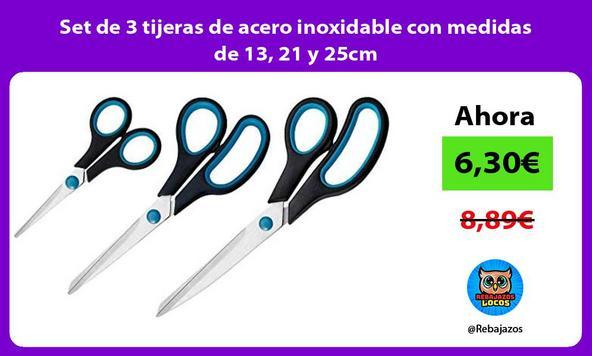 Set de 3 tijeras de acero inoxidable con medidas de 13, 21 y 25cm