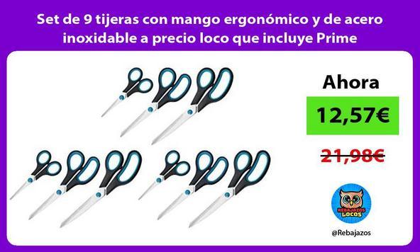 Set de 9 tijeras con mango ergonómico y de acero inoxidable a precio loco que incluye Prime