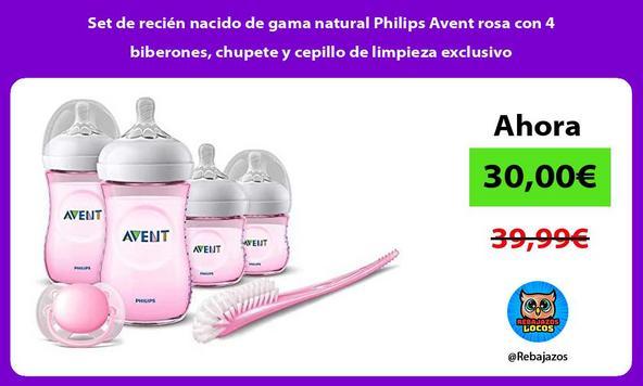 Set de recién nacido de gama natural Philips Avent rosa con 4 biberones, chupete y cepillo de limpieza exclusivo