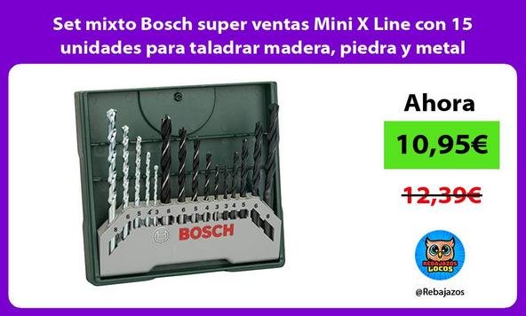 Set mixto Bosch super ventas Mini X Line con 15 unidades para taladrar madera, piedra y metal