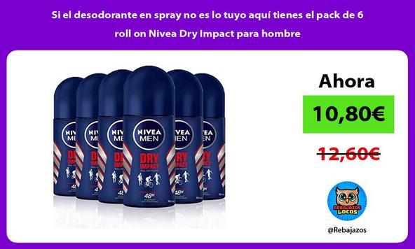 Si el desodorante en spray no es lo tuyo aquí tienes el pack de 6 roll on Nivea Dry Impact para hombre
