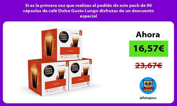Si es la primera vez que realizas el pedido de este pack de 90 cápsulas de café Dolce Gusto Lungo disfrutas de un descuento especial
