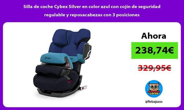 Silla de coche Cybex Silver en color azul con cojín de seguridad regulable y reposacabezas con 3 posiciones