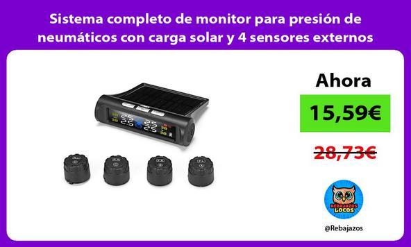 Sistema completo de monitor para presión de neumáticos con carga solar y 4 sensores externos