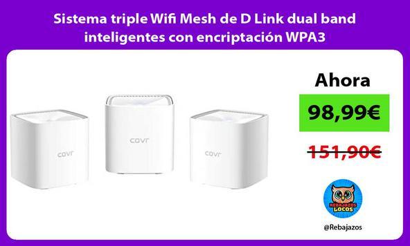 Sistema triple Wifi Mesh de D Link dual band inteligentes con encriptación WPA3