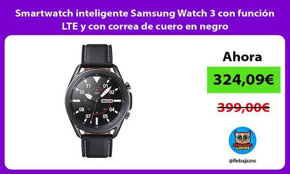 Smartwatch inteligente Samsung Watch 3 con función LTE y con correa de cuero en negro