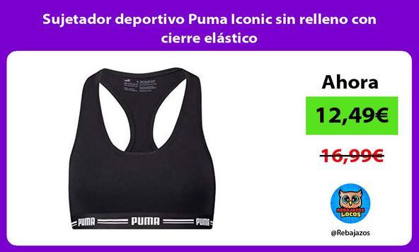 Sujetador deportivo Puma Iconic sin relleno con cierre elástico